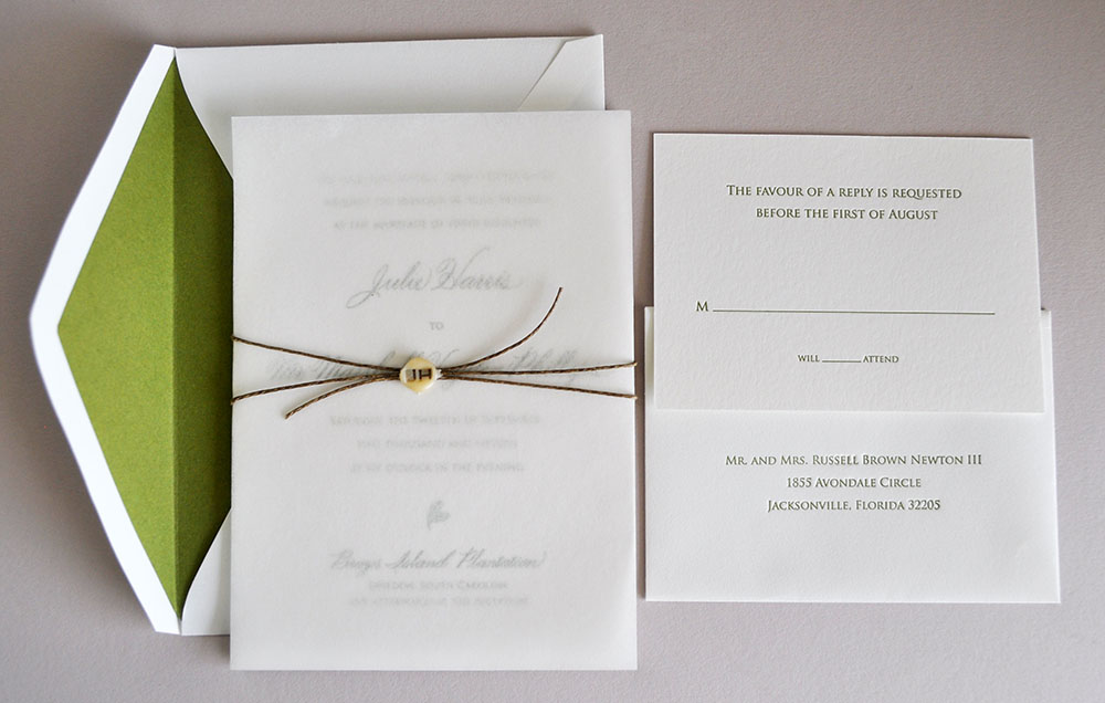 Letterpress Low Country Suite. Elegant and earthy with lined envelopes, parchment leaf, twine with wax seal. Printed on double and single ply Lettra in 1 color