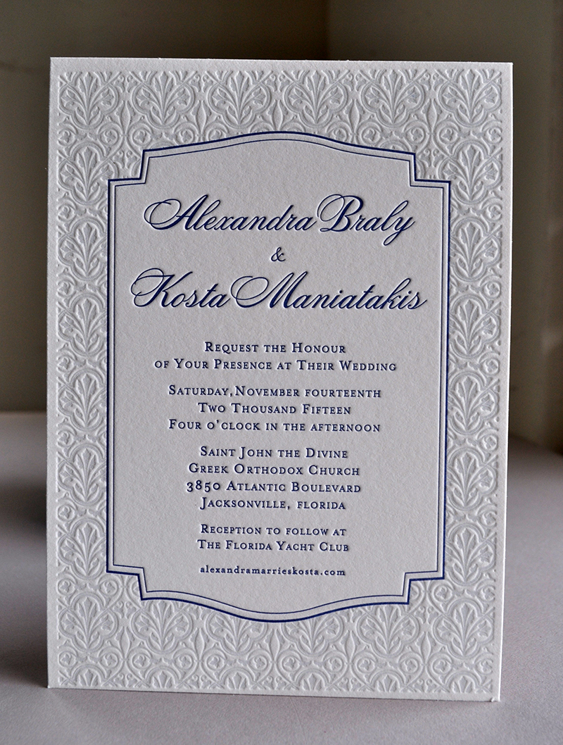 Greek Orthodox classical letterpress wedding invitation