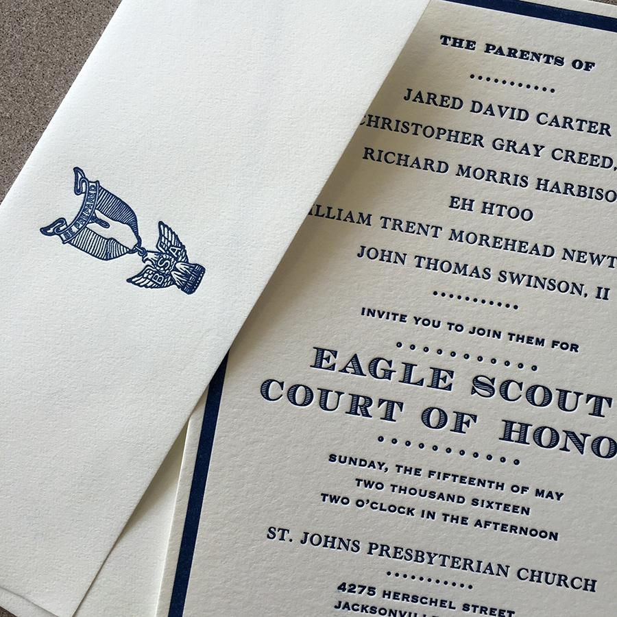 Eagle Scout letterpress invitation