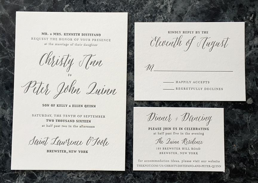 Casual elegance letterpress wedding invitation in grays