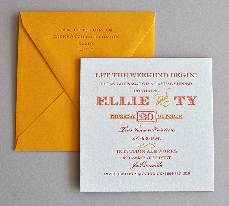 Bright reds and oranges wedding party letterpress invitation elegant and traditional