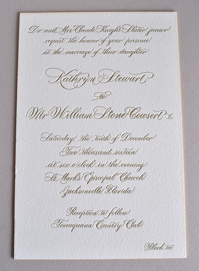 Formal and elegant hand calligraphy letterpress wedding invitation