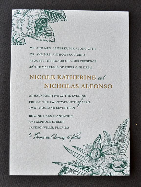 Elegant botanical theme for letterpress wedding invitation suite with band and monogram medallion