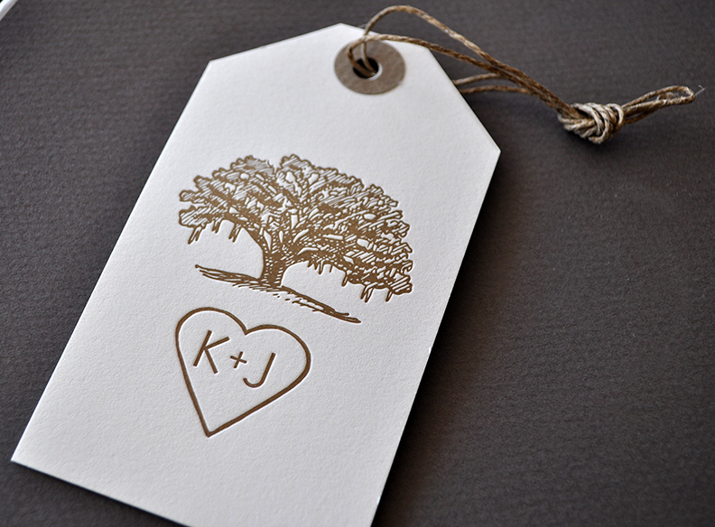 Custom tag, live oak illustration for Southern wedding
