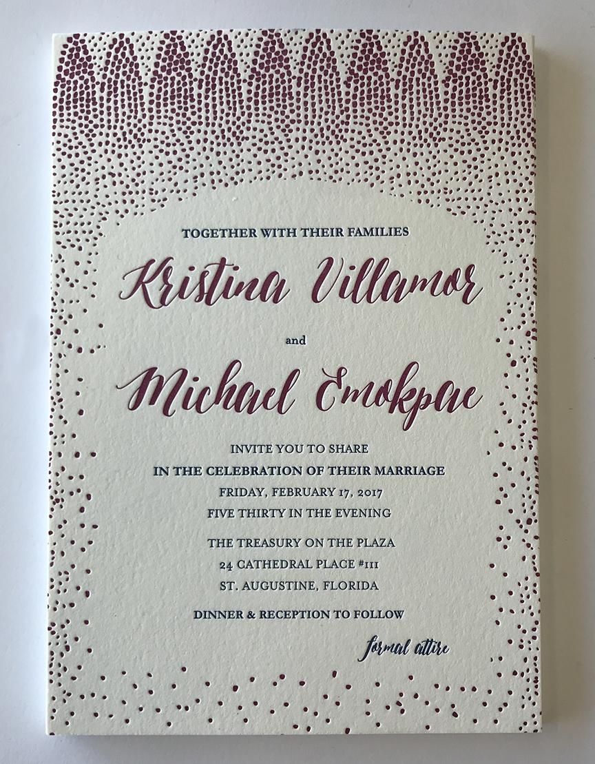 Fuchsia confetti letterpress wedding invitation