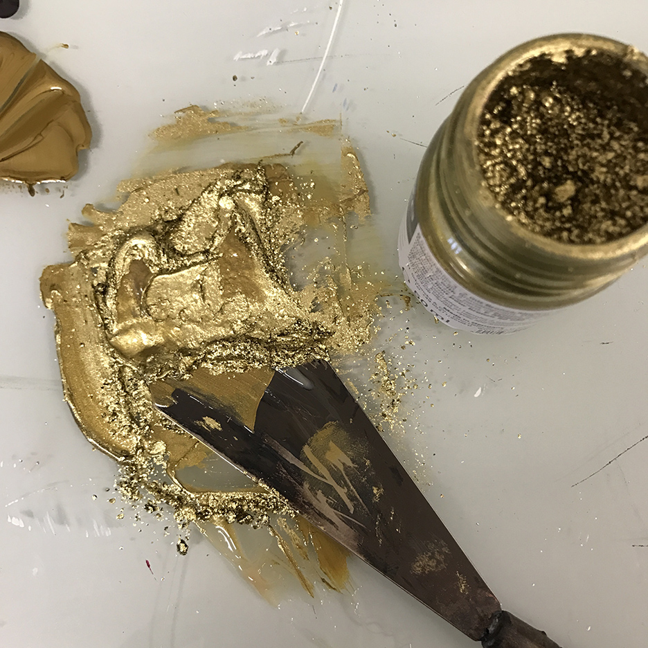 adding shimmer to gold ink