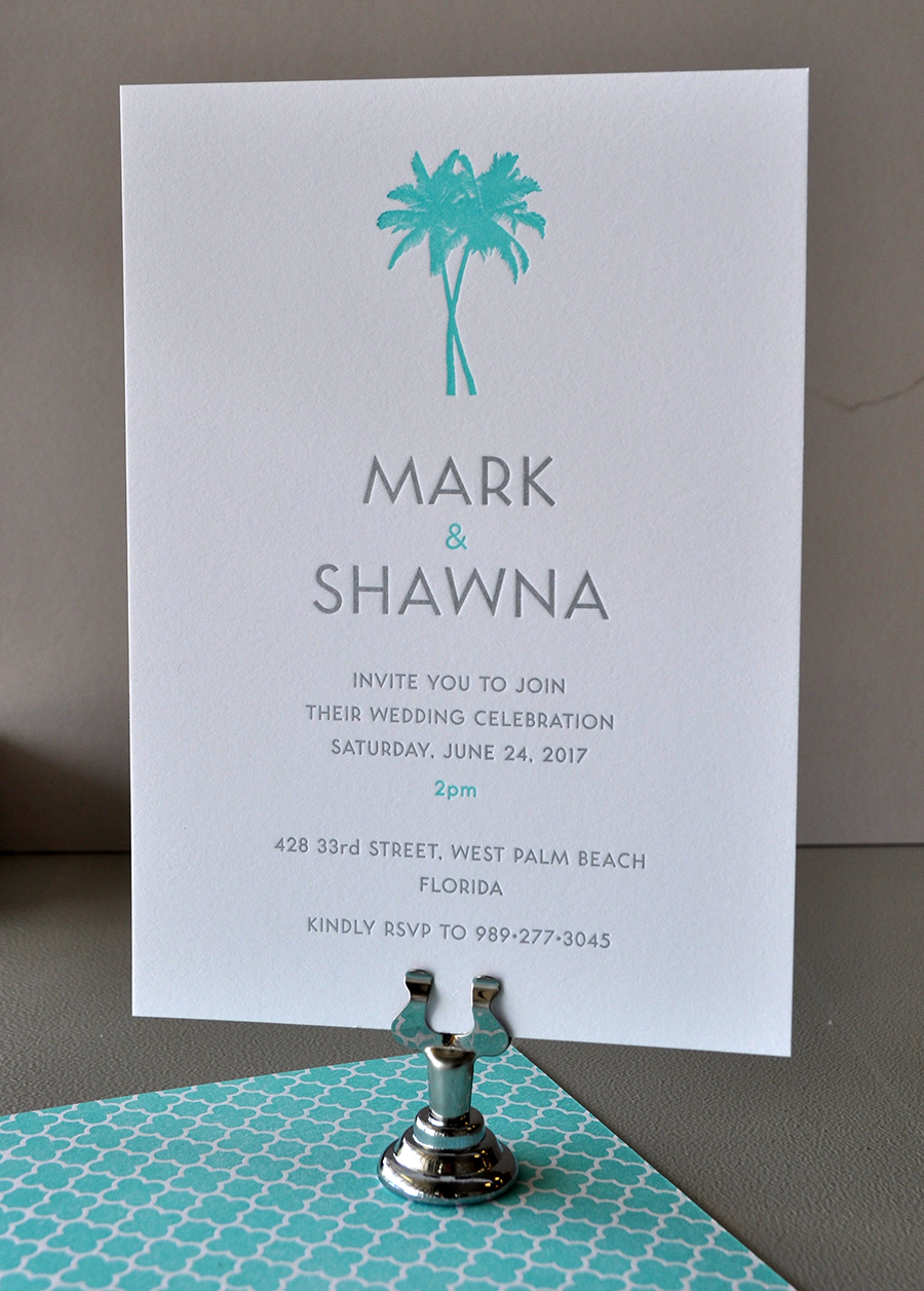 Tropical destination letterpress wedding invitation printed front and back
