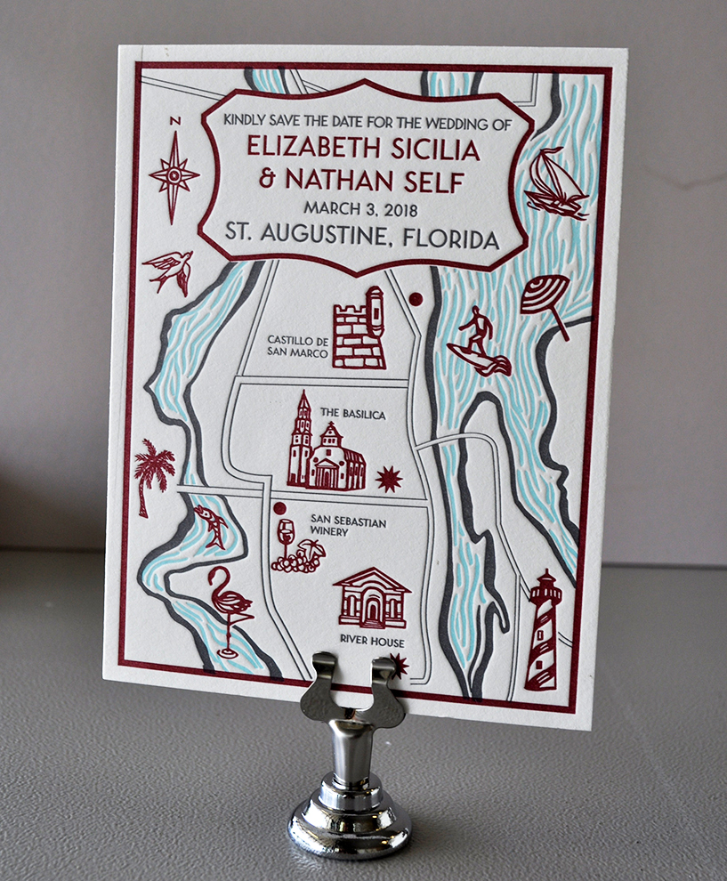 Letterpress wedding map save the date custom illustration