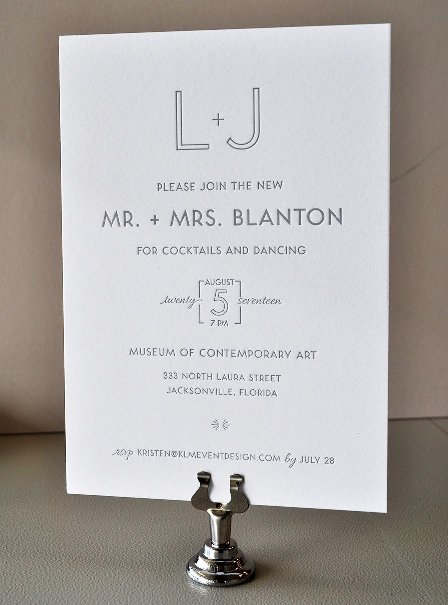 Clean, modern monotone gray letterpress wedding invitation
