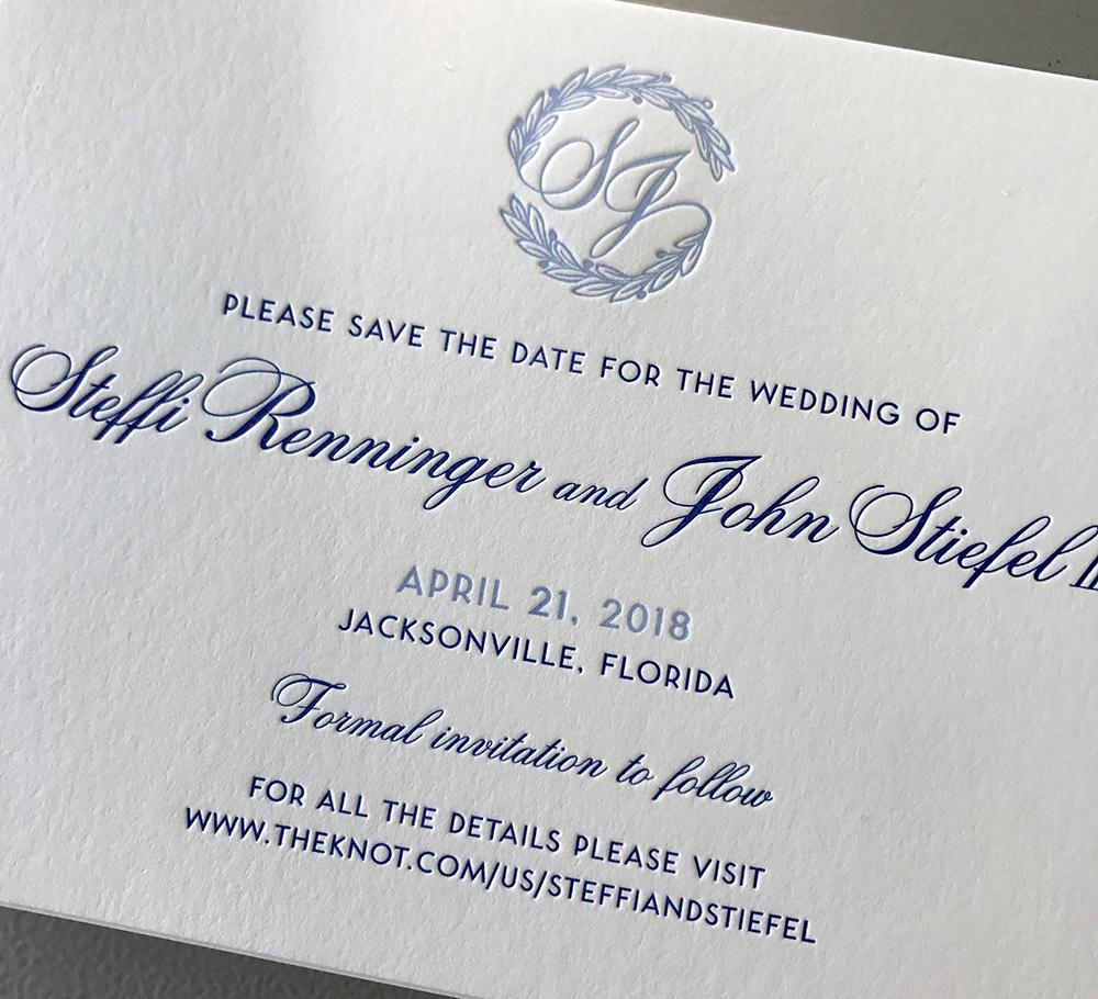 Elegant monogrammed letterpress save the date