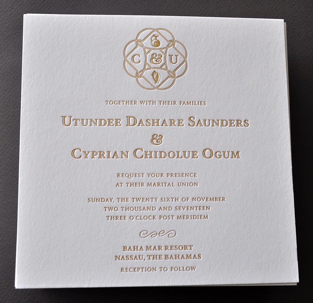 Distinctive gold ink letterpress wedding invitation