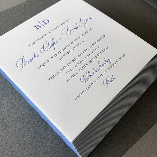 blue and gray elegant sophisticated letterpress wedding invitation suite with edge painting