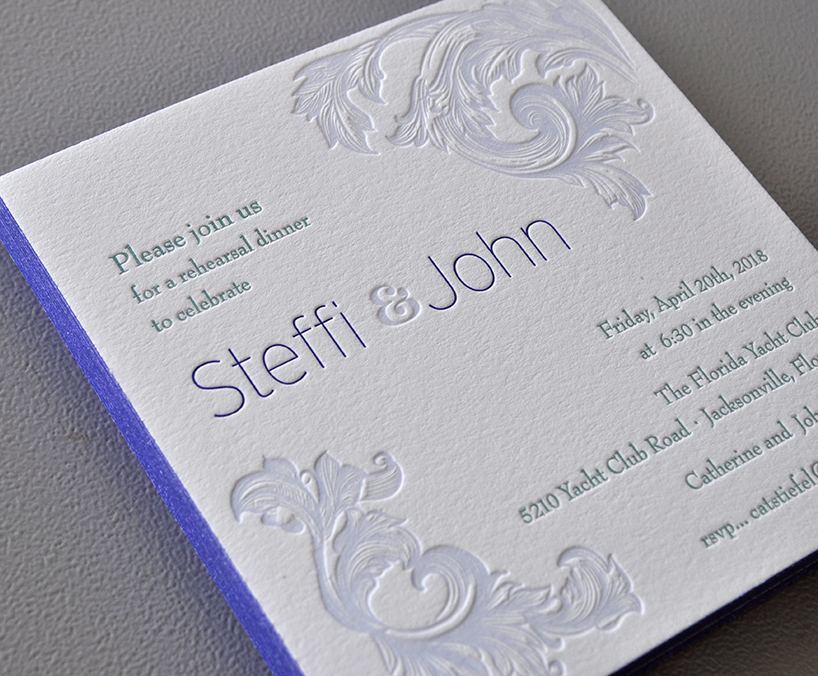 classic  letterpress rehearsal party invitation with edgepainting