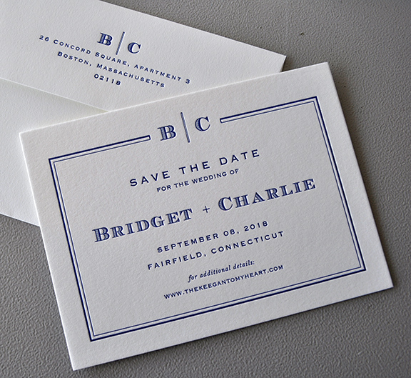 elegant navy blue letterpress save the date with  monogram
