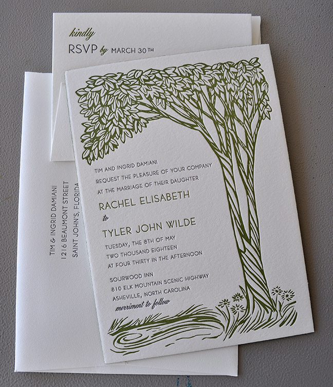 South carolina letterpress wedding invitation with custom illustration