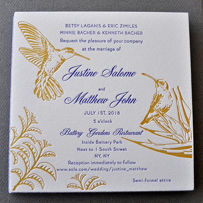 letterpress illustrated birds wedding invitation in yellow and purple