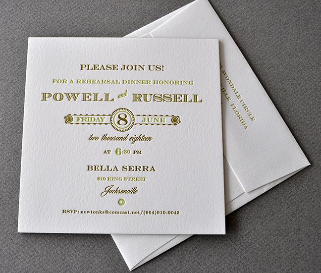 letterpress wedding party invitation traditional elegant
