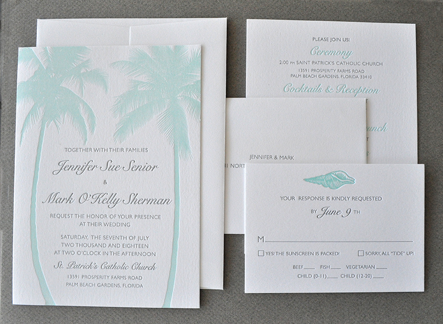 Tropical destination letterpress wedding invitation suite palm trees and beach