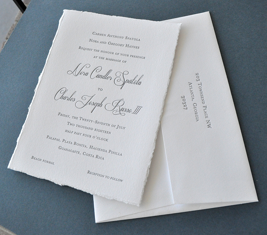 elegant deckle edge wedding invitation on all cotton paper