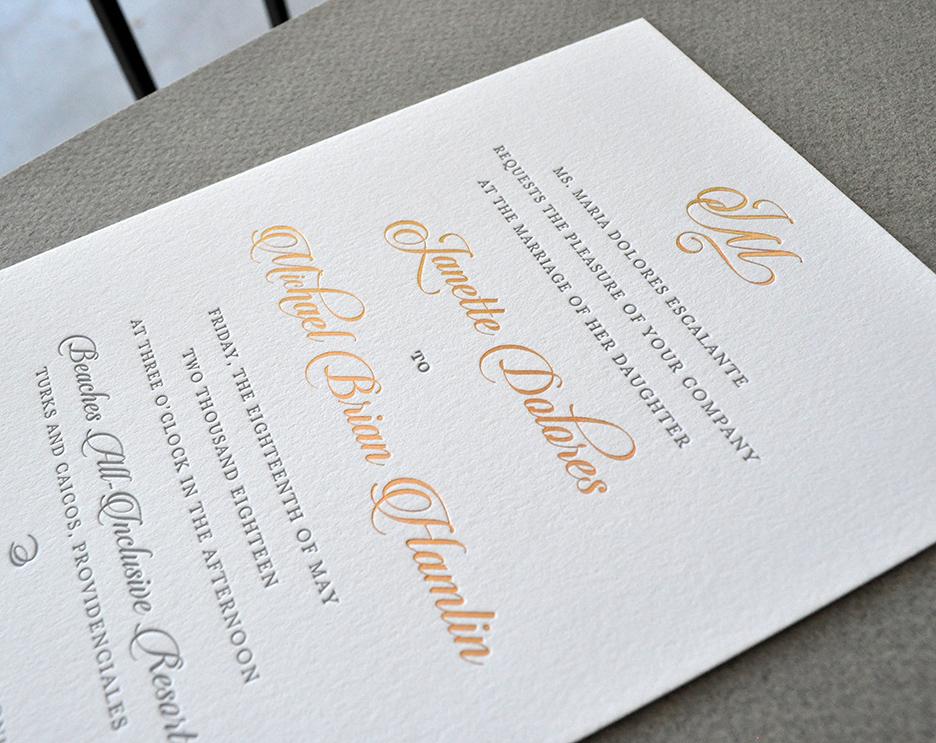 rose gold foil letterpress wedding invitation