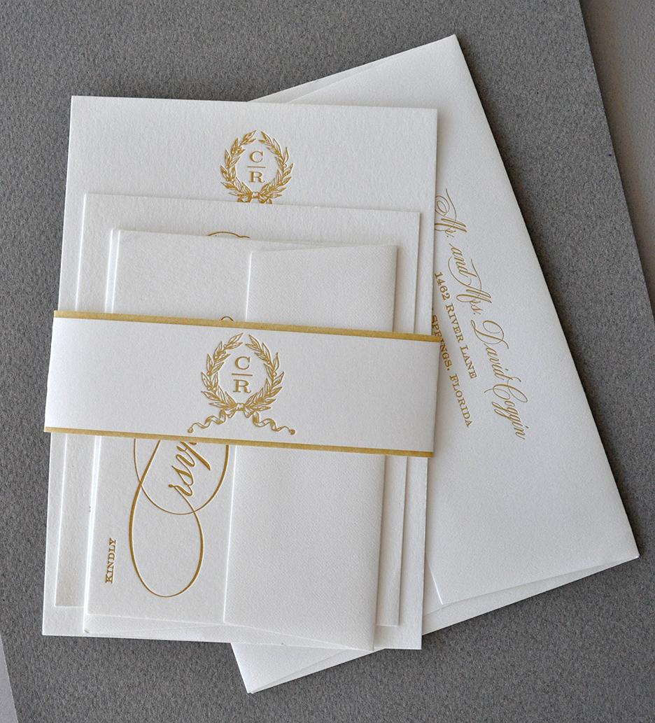 gold letterpress wedding invitation suite elegant and classic monogram