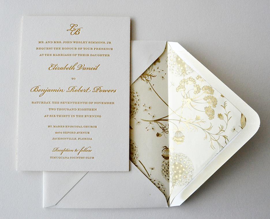 elegant lined letterpress wedding invitation