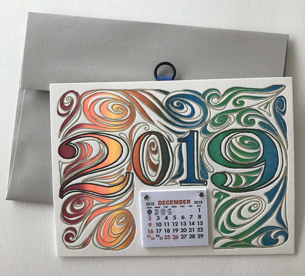 Calendar greeting cards letterpress printed in multiple colors on double thick Lettra and Flurry all-cotton paper