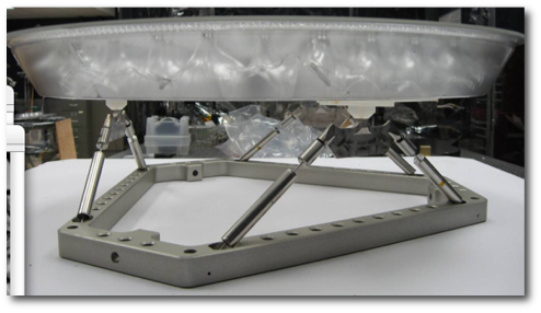 A 0.5m corrugated glass mirror and its support structure. Corrugated glass materials have high rigidity but low areal density. Such materials are candidates for assembling large segmented space telescope primary mirrors.
