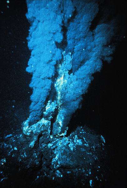 Figure 4: Black Smoker at deep ocean hydrothermal vent. Credit: Wikimedia Commons.