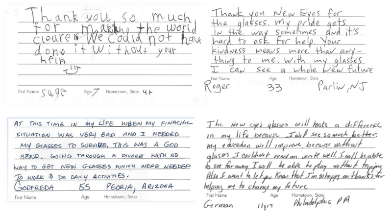 Postcards from real recipients of glasses thanks to the voucher program at New Eyes made possible by the kind donations of individuals and our sponsors.