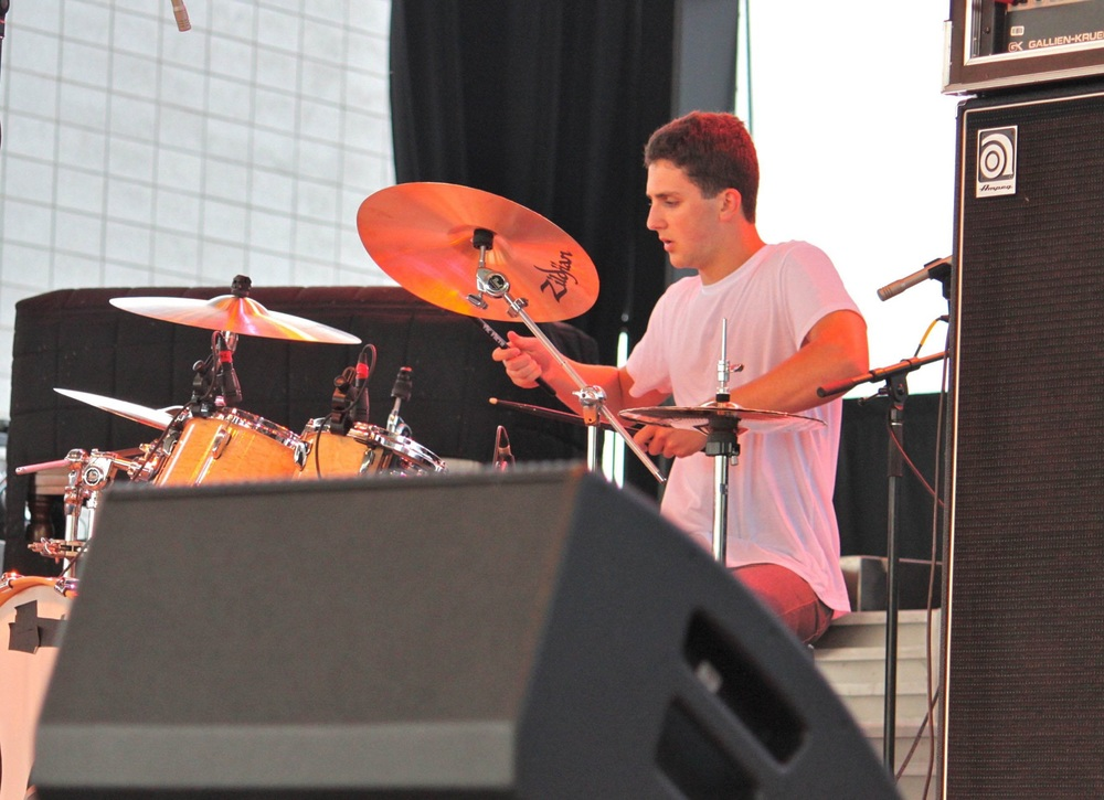 Summit High School Senior and Kids Rock Chair Andrew McGann at the Milwaukee Summerfest, June 2014, School of Rock Battle of the Bands, representing SOR Chatham-national semi-finalists