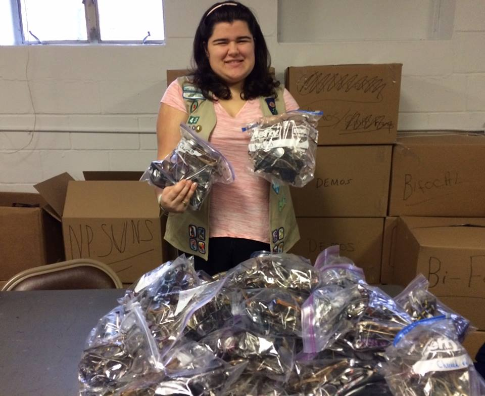 Renata B. from Bayside, NY with the eyeglasses she collected!