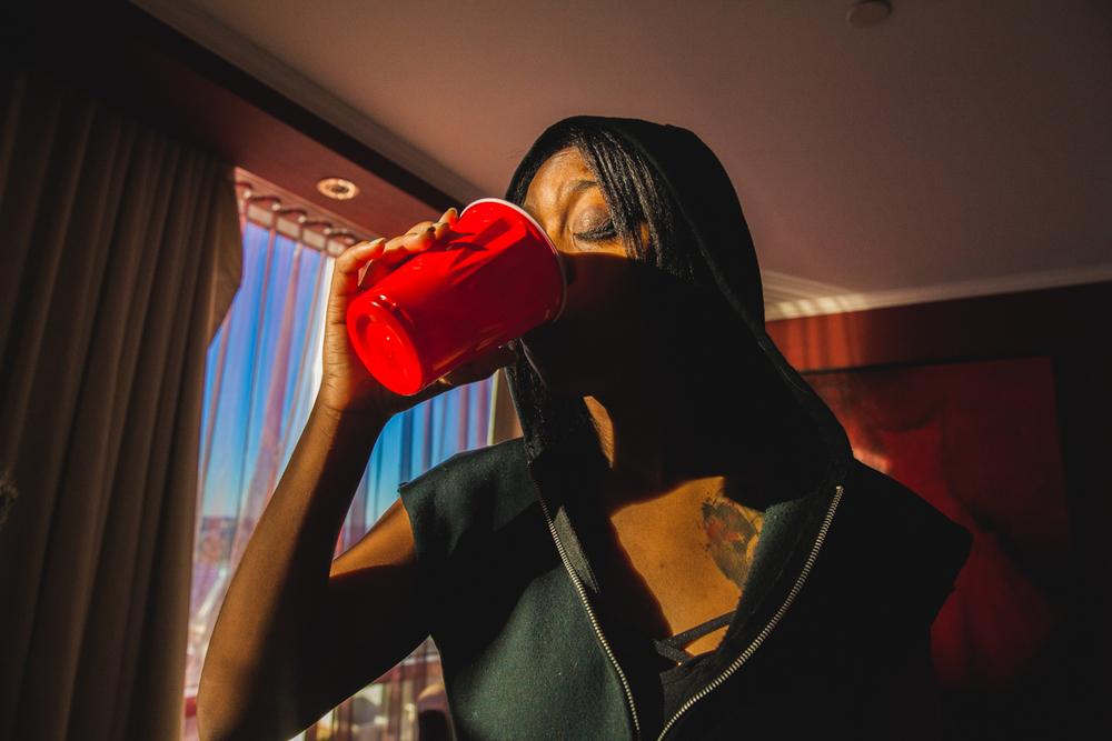 KA takes a sip of magic potion.