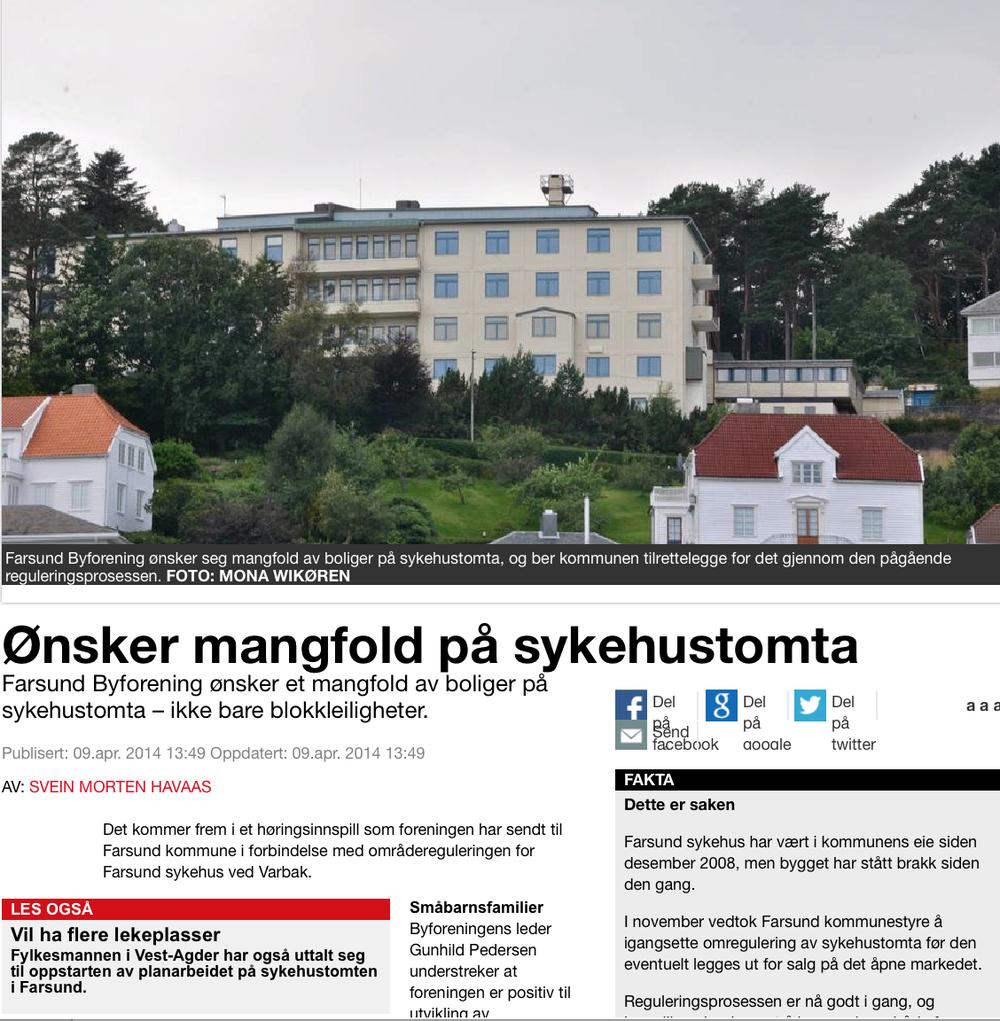 Fra Farsunds avis 9. april 2014. Klikk på bildet for å gå til artikkel.