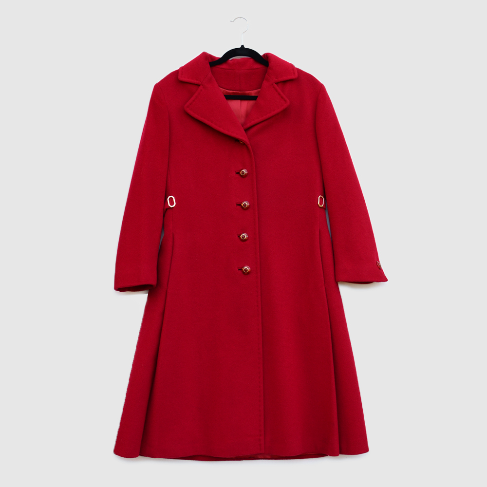 fbd752be14520 Vintage Red Cashmere Coat  br  Size Medium — MOTH ODDITIES