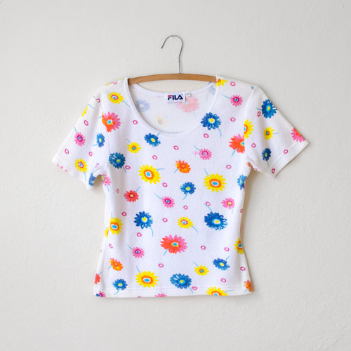 Vintage 1990s fila terry cloth top with flowers moth oddities mightylinksfo