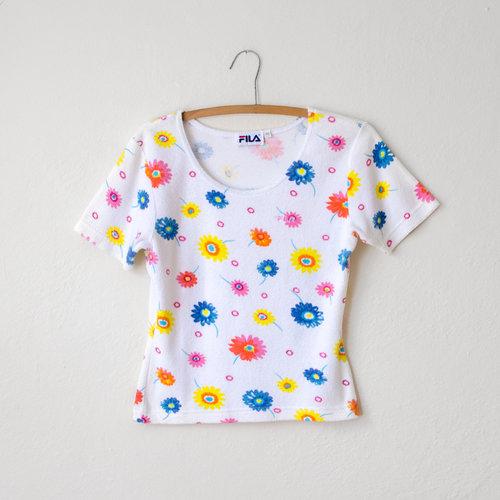 Vintage 1990s fila terry cloth top with flowers moth oddities mightylinksfo