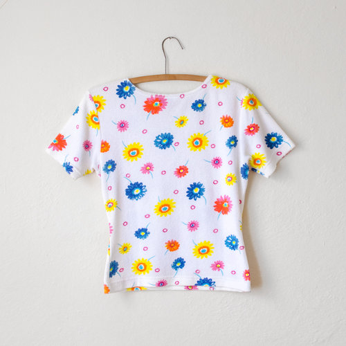 70ba42c08cf0e Vintage 1990's FILA Terry Cloth Top with Flowers — MOTH ODDITIES