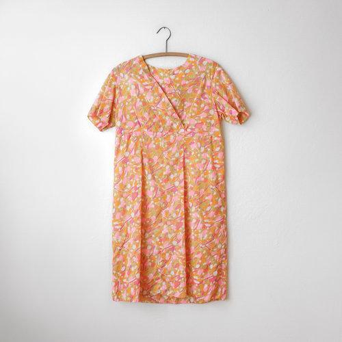 f775fc8ccb51 vintage-1980s-handmade-orange-pink-italian-house-dress-
