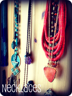 "Necklaces can be color coordinated and placed together by ""like"" items."