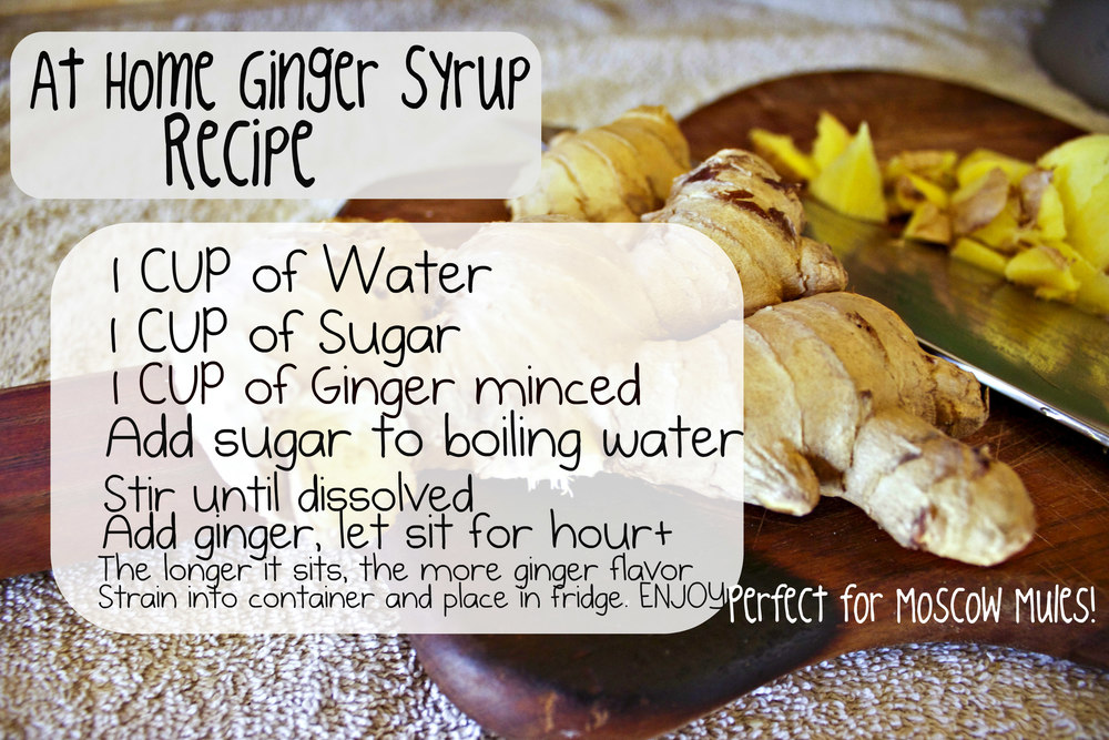 Recipe. 1 cup of water, 1 cup of sugar, 1 cup of ginger. ( 1 to 1 of all ingredients, if you wish to make more just keep the 1 to 1 ration the same and increase.