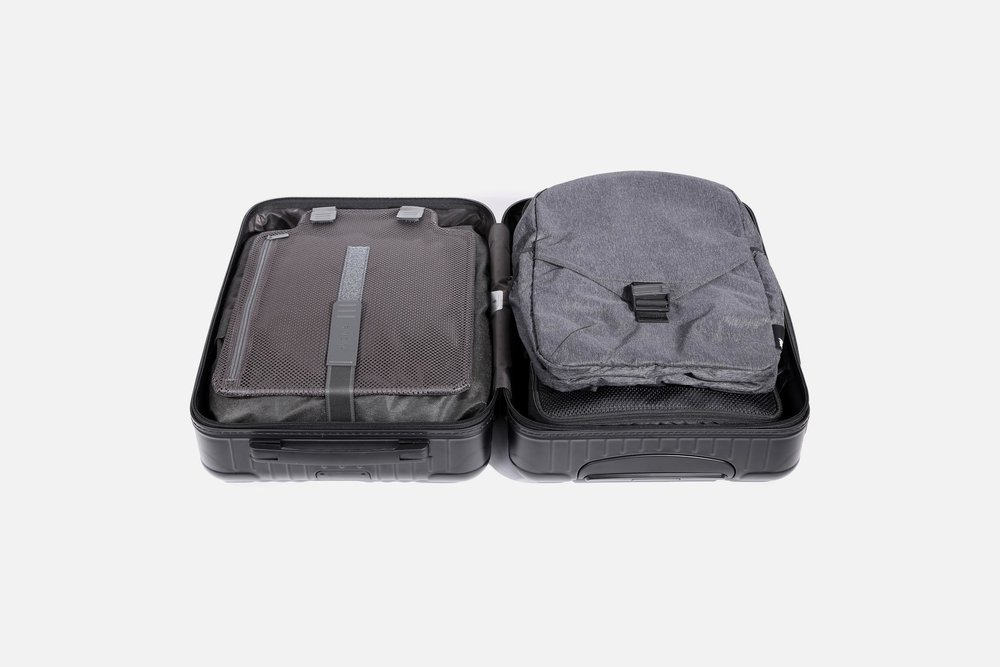 Each bag can be packed flat or rolled up in larger luggage.