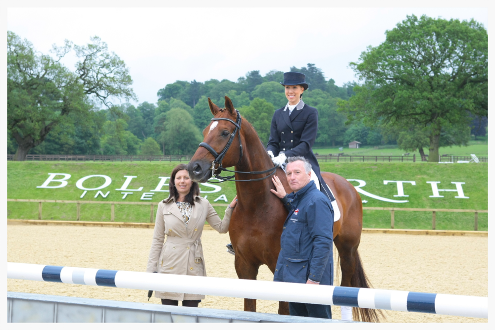 Nicolle and Foxy with trainer Richard Davison and Bolesworth show manager Nina Barbour
