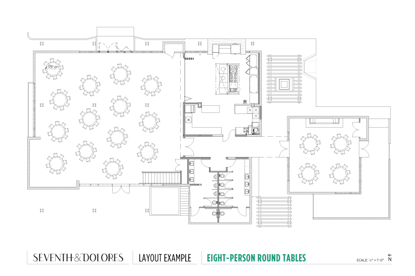 Layout Example: Eight-Person Round Tables