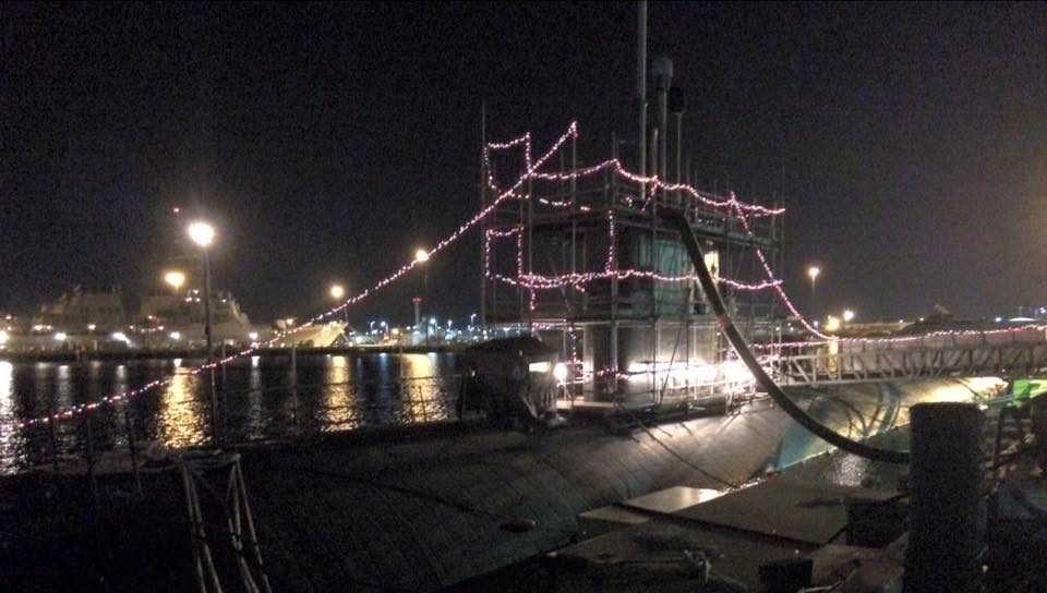 The submarine dressed for the holidays while in port