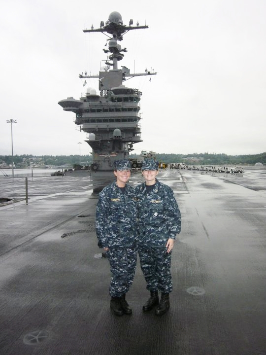 Davidson on the flight deck during a cruise as a midshipman.