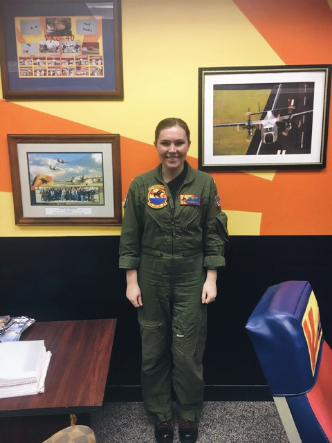 Lt. Davidson in the squadron ready room before a flight.