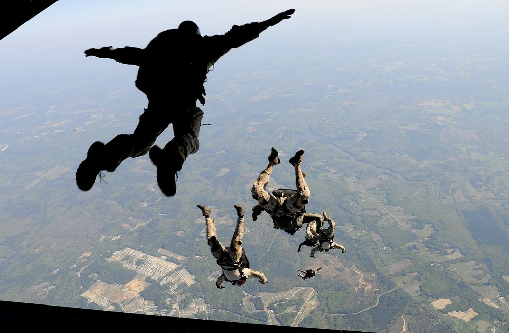 Jump - A soldier takes his first jump out of an airplane.