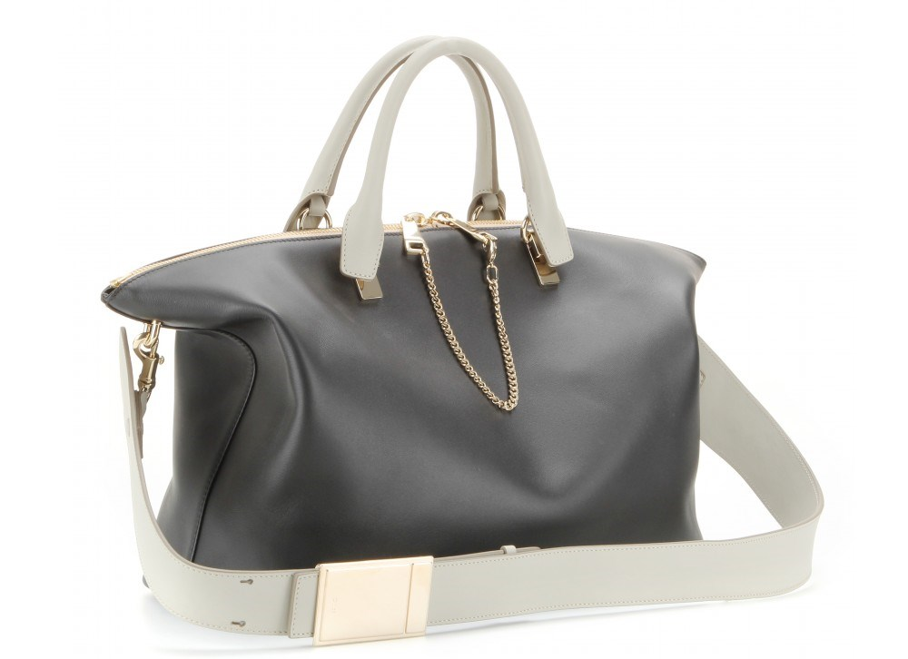 Chlo¨¦ - Baylee Leather Tote in Black and Grey \u2014 BAGSESSED