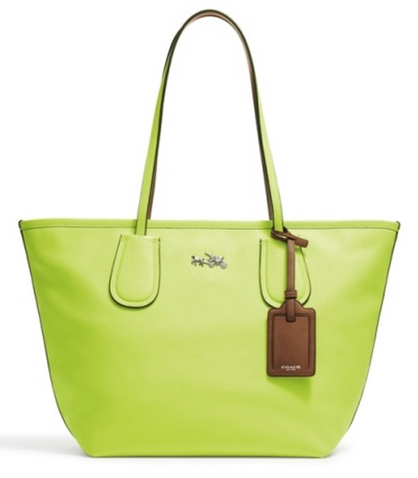 Coach Taxi Tote in Glo Lime